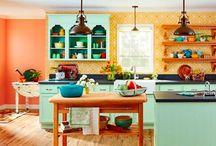 Ideas for an eclectic kitchen / Kitchen is getting a cheap and cheerful redo. Here's some ideas I may steal.