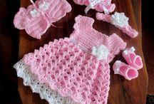 crochet pink dress and asseceries