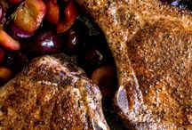 Pork chops with branded cherries