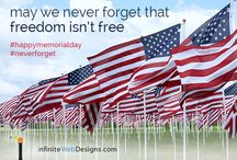 Memorial Day Social Media Marketing Images / HAPPY MEMORIAL DAY! This Memorial Day we are honoring those who have served and continue to serve our country with our branded social media graphics. Please take a look at a few of the digital marketing pieces we created for our clients to use for social media marketing, email marketing & more! http://infinitewebdesigns.com/8-social-media-graphics-honor-memorial-day/ #mdw #memorialday