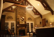 Ceilings with a Faux Wood Truss / A truss is a framework, often triangular, that typically consists of rafters, posts and struts, to support a roof or other structure. A truss can also be purely decorative to fill the space of a high ceiling, vaulted ceiling, etc. Our truss designs are not structural and are made of faux wood beams, which means they're much easier to install and more budget friendly. / by Faux Wood Beams