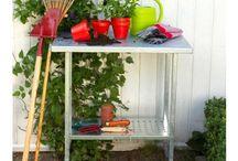 Pflanztisch Gärtnertisch Umtopftisch Stahl / Pflanztisch für Garten, Balkon oder Terrasse aus verzinktem Stahl für müheloses Umtopfen und Bepflanzen