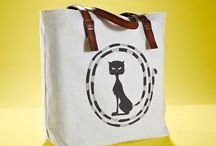 01WARDROBE Autumn/Winter 2013 - Cat Tote Bag / Cow Skin Leather Shoulder Straps // %100 Cotton Canvas bag / Printed bag / İllustrated bag / Cat Tote Bag, $65