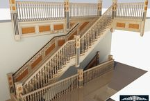 Staircase Visuals / Visuals depicting an Oak staircase with different veneered panels and inlays