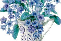 Kupada mavi çiçekler
