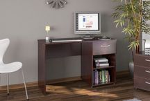 Dark Wooden Desk PC Computer Laptop Office Furniture Home Decor Drawer Storage