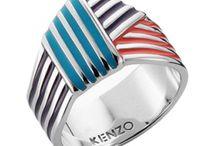 Bijoux KENZO / Bijoux KENZO en argent rhodié et laque multicolore. http://www.bijouterie-influences.com/search.php?search_query=g%C3%A9om%C3%A9trique+kenzo