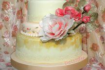 Wafer paper cake / Una torta shabby schic