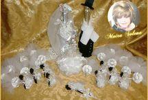 ✿⊱╮BOTTIGLIE DECORATE ✿⊱╮ / Bottiglie decorate, bomboniere e segnaposto per il 60esimo Anniversario di matrimonio dei miei genitori.