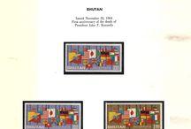 BHUTAN & BRAZIL Stamps JFK  / John F. Kennedy stamps collection of Bhutan & Brazil.