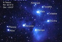 Pleiades / The Pleiades (The Seven Sisters) are a cluster of 7 stars in the Taurus constellations. They are seen at their brightest during the month of November but are still visible into April.