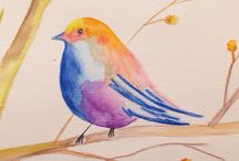 Birds & flowers / Watercolor drawings by sini