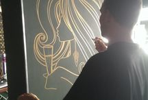 Inkie's interior / Inkie, Bristol born & world famous graffiti artist came and drew pretty girls all over our walls.