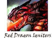 Red Dragon Firework Igniters / Red Dragon Brand safety clip igniters to light your firing remotely.  Dragon artwork done by Steve Colyer.