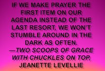 Two Scoops of Grace / What do drive-by diaper stores and God have in common? When is blabbing an acceptable habit? Why should you beware of moths and slugs?  In her entertaining, uplifting style, award-winning author and humorist Jeanette Levellie weaves 72 amusing stories with affirming biblical truths that will help you:  *Laugh when you find cow patties in your field instead of daisies  * Discover the bottomless heart of God  * Grow in your acceptance of yourself and others