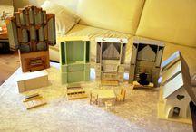Handgemachte Orgelmodelle Typ I - Maßstab 1:10 / Orgeln mit Pfeifenprospekt und integriertem Spieltisch