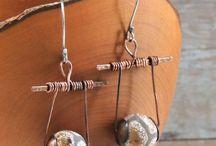 Brincos fio ferro e rame