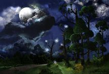 New Art Work: Landscape: Titled: Moon and Stars / This is a snapshot of the illustration recently completed in the middle of July 2013...