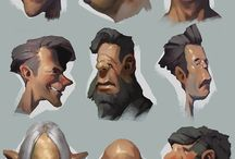 stylized heads