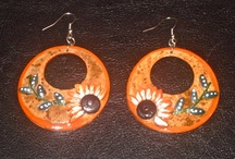 Hand painted coconut shells earrings