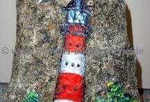 Lighthouse painted rocks