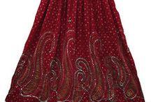 Long Sequin Rayon Skirt