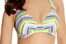 Freya / With it's stunning combination of pastels and stripes, this Freya Beach Candy Banded Halter Bikini Top 3308 has underwired, mesh lined cups for modesty and shape that keeps you looking your best. Self tie halter straps and a non adjustable back closure keep your bust in place while the stretch nylon cups keep you contained and confident so you can enjoy your fun in the sun.