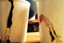 Yoga cups made by czech artist Lu Jindrak Skrivankova / Ceramic with hand drawing. Asana edition.