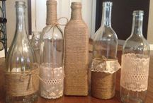 Bottles with burlap crafts