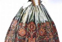1600 Baroque dress inspiration / The Baroque is a period of artistic style that used exaggerated motion and clear, easily interpreted detail to produce drama, tension, exuberance, and grandeur in sculpture, painting, architecture, literature, dance and music. The style began around 1600 in Rome, Italy and spread to most of Europe. -Wikipedia  / by Elizabeth Novak