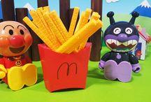 マクドナルド風のポテトゲームとアンパンマン アニメ❤おもちゃ McDonald's Anpanman toys