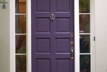 New Front Door Ideas / We are changing our roof color to a brownish/grey (Shakewood) and our garage door to white. I'm loving the idea of a purple door.