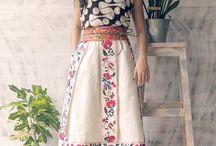 Full knee length folklore skirt