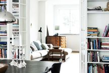 Bookcase surrounding doors