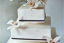 White Cattleya Orchids wedding cake / square wedding cake