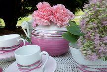 Garance porcelaine Limoges reflet rose / porcelaine de limoges peinte à la main