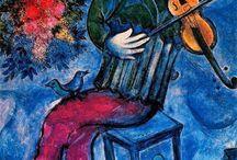 Pinturas de Marc Chagall / Marc Chagall nasceu na aldeia de Vitebsk, na Bielorrússia, no dia 7 de julho de 1887, o pintor, ceramista, gravador e vitralista surrealista Moishe Zakharovich Shagalov, futuramente conhecido como Marc Chagall.