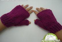 Luvas de trico e crochê