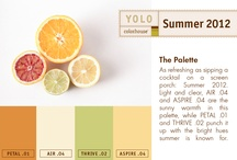 Summer Palette 2012 / As refreshing as sipping a cocktail on a screen porch: Summer 2012.  Light and clear, AIR .04 and ASPIRE .04 are the sunny warmth in this palette, while PETAL .01 and THRIVE .02 punch it up with the bright hues summer is known for.  / by Colorhouse Paint