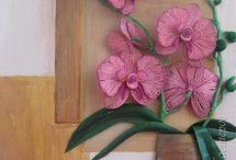 Квиллинг - орхидеи , фиалки