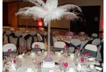 Feather Centrepiece Hire / Our feather centerpieces are a unique and attractive idea for wedding centrepieces, and look very elegant and sophisticated, and are bound to be admired by your wedding guests. A large choice of feather designs and colours are available, and can match you wedding theme and colour scheme perfectly.