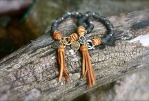 African Glass Beads and Leather