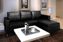 Black Leather Couch Sofa L Corner Faux Modern Stylish Home Furniture Living Room