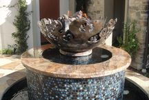 Firebowls and Fountains / Sculptural Firebowls by artist John T. Unger paired with various fountain projects.