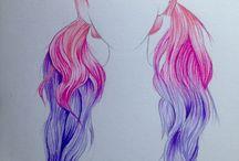 Draw hair desing