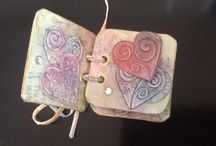 Little books / Walnut ink stains and chalk stamping.