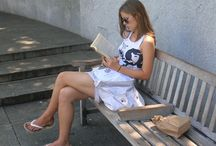 Woman Reading / Woman Sitting and Reading Book, Magazine, Paper etc... / by Women's Legs Style ♚