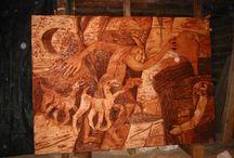 scultura / scultura in legno e ceramica