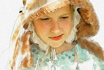 watercolour portraits.