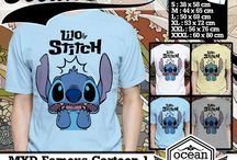 Kaos Stitch Snoopy Pokeman Mickey